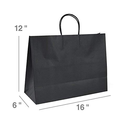 GSSUSA Black Gift Bags 16x6x12 50Pcs Sturdy Shopping Bags,Party Bags,Merchandise Bag, Kraft Bags, Retail Bags, Black Paper Bags with Handles