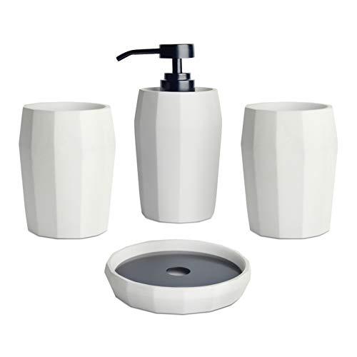 Badezimmer Zubehör Set aus Beton mit Zahnputzbecher, Seifenspender, Seifenschale, Geometrish Muster, 4-teilig zur Dekoration des Badezimmers