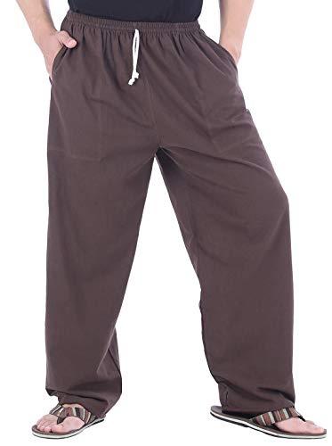 CandyHusky Calça de ioga masculina de algodão, solta, casual, para relaxar, Dark Brown, One Size