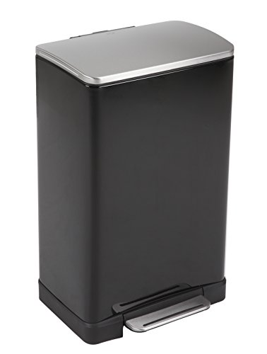 EKO E-Cube Poubelle à Pédale Métal Noir 34,5 x 40,3 x 65 cm 40 litres
