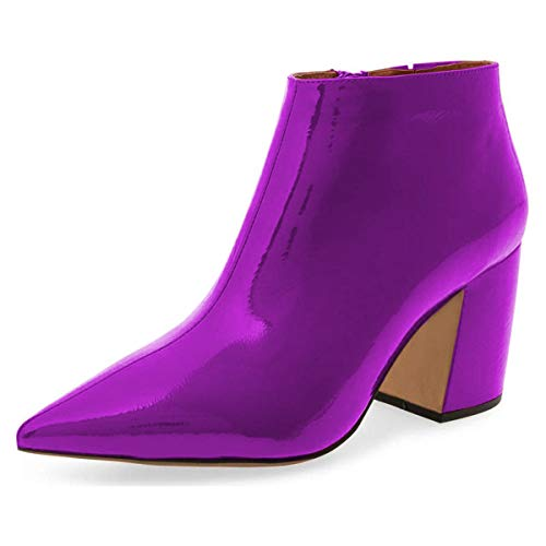 XYD Women Vegan Leather Pointed Toe Block Heel Ankle Boots Zipper Side Dress Bootie Shoes Size 8 Purple