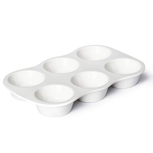 Sweese 517.101 Porcelain Muffin Pan Non-Stick Cupcake Baking Pan, 6 Cups, Each cup holds 3 oz, White