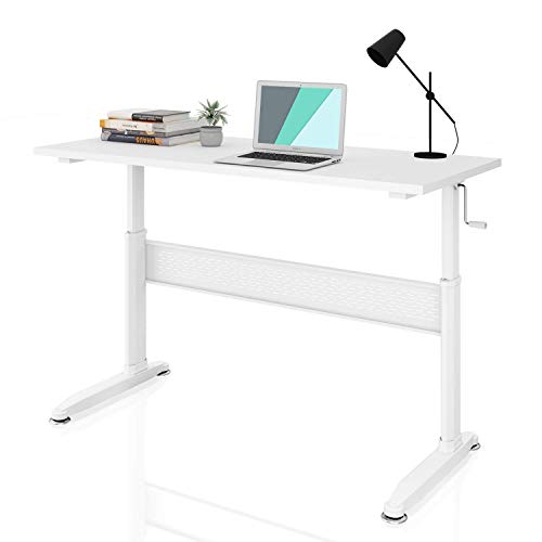 DEVAISE Height Adjustable Standing Desk with Side Crank Handle; 140cm Wide, White