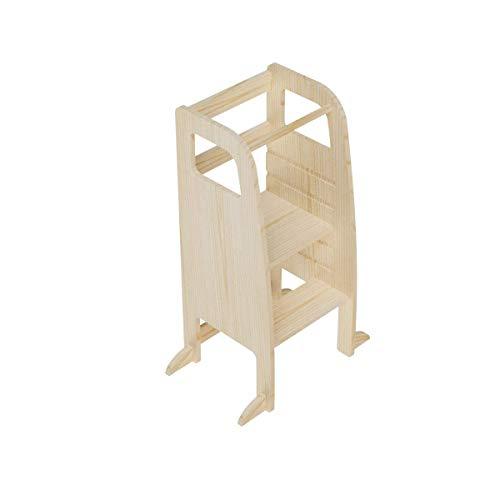 AtviKids Torre Montessori Con 5 Altezze Regolabili | Ayudante Cocina | Taburete Cocina | Torre Actividades | Taburete Escalada (Natur)