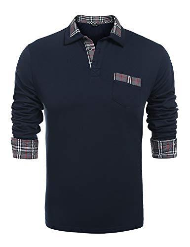 Coofandy Herren Poloshirt Langarm Einfarbig Freizeit Polo Kragen Plaid spleißen Polohemd, XXL, Dunkel Blau