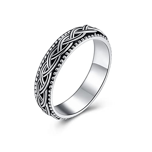 Fidget Ring Sterling Silver Anxiety Ring for Women Spinner Worry Band Ring Stress Relieving Celtic Jewelry Gifts for Men (8)