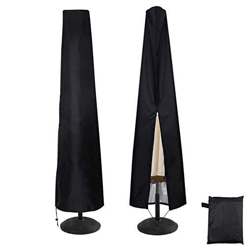 ZXT 290 cm Funda para Sombrilla,Funda Sombrilla Jardín Impermeable, Funda Protectora para Parasol,Cierre de Cremallera Recubrimiento Protector Solar- Negro