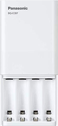 Panasonic eneloop, USB-Schnellladegerät für 1-4 Ni-MH Akkus AA/AAA, zusätzliche Stromversorgung für mobile Geräte durch USB-Ausgang