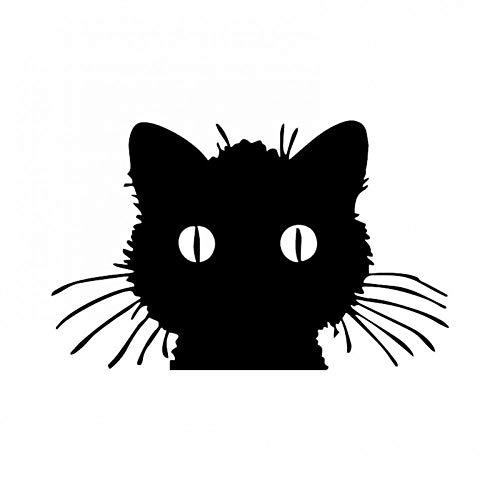 XCWQ Autosticker, 15,7 x 9,9 cm, zonwering, vinyl, zelfklevend, kat, ramen, decoratie, cartoon-tekening Zwart