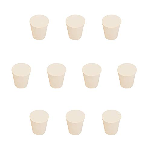 StonyLab Solid Rubber Stoppers, 10-Pack 4# White Tapered Lab Seal Rubber Stopper, Fits All StonyLab Glassware with 24/40 Joint