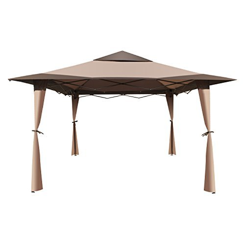 ALEKO GZB004 Double Roof 10 X 10 Foot Polyester Patio Gazebo Picnic Sun Shade Canopy Brown [並行輸入品]