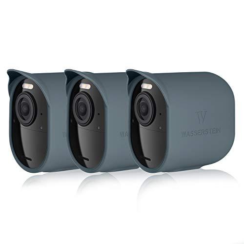 Schützende Silikonhülle mit Sonnendach kompatibel mit Arlo Ultra - Zubehör & Schutz für Ihre Arlo-Kamera (blau, 3er Pack)