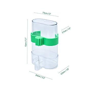 COCOCITY Distributeur Automatique Nourriture/Eau, Mangeoire à Oiseaux en Plastique Transparent pour Cage 13,4 × 7,5cm