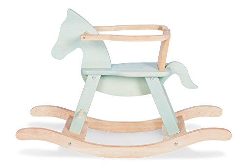 Pinolino Rocking Horse with Ring, Solid Wood, Removable Ring, Conversion Kit Included, for Children from 9 Months, Mint / Natural