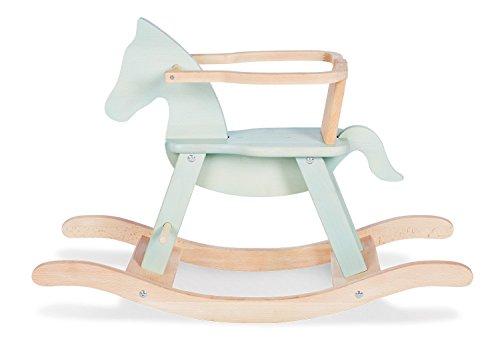PINOLINO 242494 Schaukelpferd Pinolino mit Ring, aus massivem Holz, Ring abnehmbar, Umbausatz enthalten, für Kinder ab 9 Monaten, mint/natur
