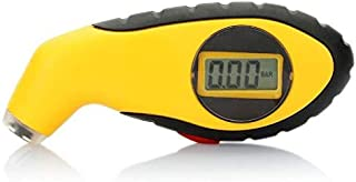 LCD Digital Auto Air Pressure Tire Tyre Gauge Tester for Car Motorcycle Truck Mountain Bike (Yellow)
