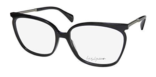 Yohji Yamamoto 1028 Mens/Womens Designer Full-rim Contemporary Light Style Classy Eyeglasses/Spectacles (58-16-145, Black/Silver)
