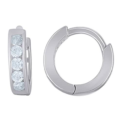 Pendientes de aro de plata de ley 925 con circonita cúbica para mujer, medidas de 11,2 x 2,8 mm de ancho, regalos para mujeres