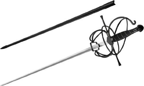 Renaissance Rapier Swept Hilt Spiral Black Fencing Spanish Sword