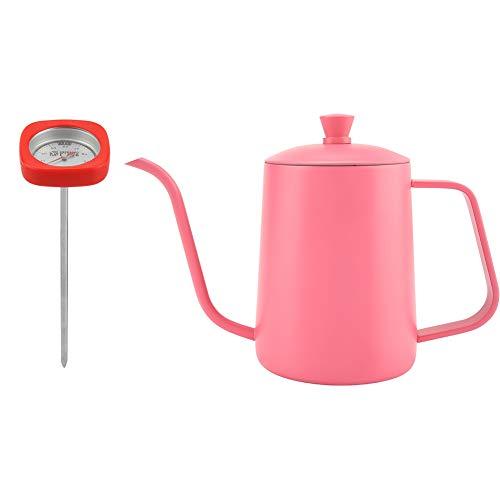 EVTSCAN Gage, tetera para verter sobre café, acero inoxidable, cuello de cisne, pico largo, tetera de goteo manual, tetera con termómetro, 600 ml(Rosa)