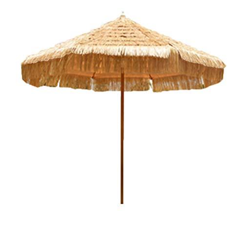 Zzmop Ombrellone da Spiaggia per Esterno,Ombrellone Tropicale Hawaiano in Paglia Tiki,Design con Coulisse,per Giardino,Piscina,Villa con Prato,250CM