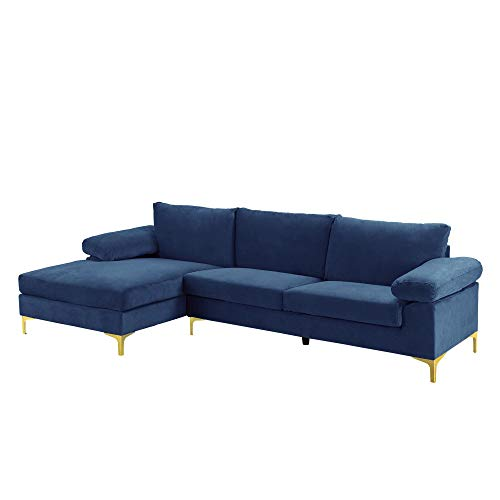Casa Andrea Milano llc Modern Large Velvet Fabric Sectional...