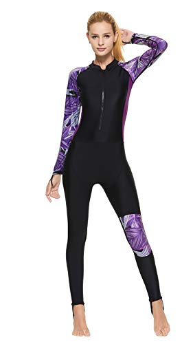 Sbart Muta per Donna con Fibbia per Il Pollice Fasciatura per Il Piede per Tenere in Caldo La Parte Anteriore Zip Muta per Immersioni Snorkeling Surfing Kayak Canoa,Purple,L