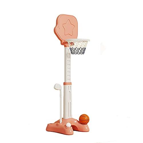 Canasta Baloncesto Niños, 2 en 1 Plegable y Ajustable Canastas de Baloncesto con Tablero y Base, Juguetes Jardin Exterior Interior Infantil (Color : Pink)