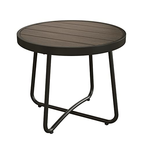 Grand Patio Steel Patio Side Table, Weather Resistant Outdoor Round End Table,Dark Brown Imitation Wood