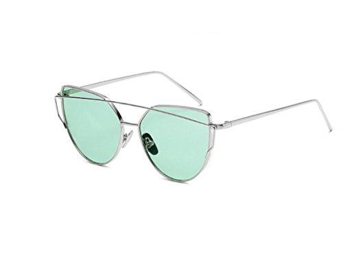 Rétro en métal couleur film Lunettes Anti-ultraviolet Lunettes de soleil + Lunettes (couleur : vert)