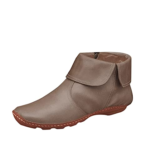 Flache Vintage Damen Stiefeletten Chelsea Boots Comfort Plissee Runde Zehe Ankle Boots mit Reißverschluss Stiefeletten Damen Ankle-Boots Flach Spitze Stiefel Kurzstiefel Winterstiefel...