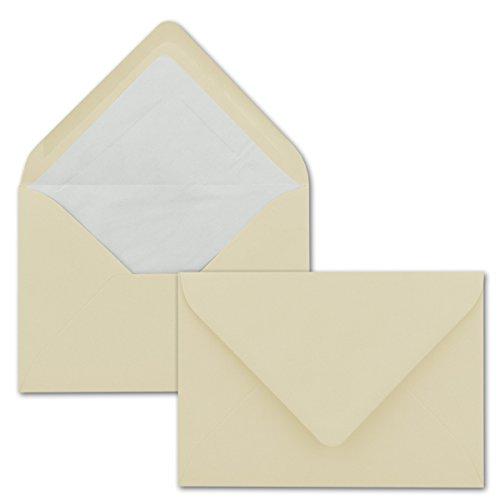 50 Briefumschläge in Vanille mit weißem Innenfutter - Farbige Kuverts in DIN B6 Format - 12,5 x 17,6 cm - Seidenfutter - Nassklebung