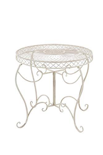CLP Table Ronde de Jardin Sheela- Table de Jardin Design en Fer Forgé - Table de Terrasse Style Antique avec Diamètre Ø 76 cm - Meuble de Jard, Couleurs:Antique crème