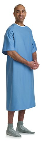 Medline MDTPG5RTSHYP Hyperbaric Patient Gowns, 100% Cotton, Tieside, Blue (Pack of 12)