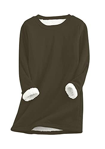 EFOFEI Jersey de felpa para mujer con forro de pelo de cordero, informal, de Navidad, monocolor, estampado, manga larga, Color verde militar., L