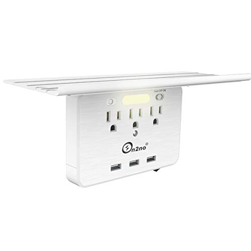 Socket Shelf - ON2NO Outlet Surge Protector, Wall Outlet Shelf Outlet Extender with 3 Electrical Outlet, 3 USB Ports and Smart Night Light, Cable Holder and Headphone Hanger