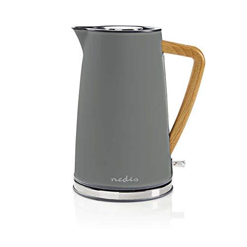 NEDIS Wasserkocher Elektrische Wasserkocher - 1,7 l - Soft-Touch - Farbe: Grau - Material: Stainless Steel - Minimiert Kalkablagerungen - Kabellose 360°-Drehsockel Grau 0.80 m