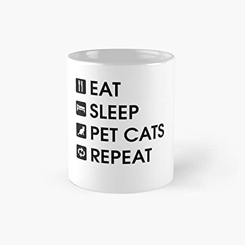 Eat-sleep-pet Cats-repeat Cat Lovers Classic Mug - Unique...