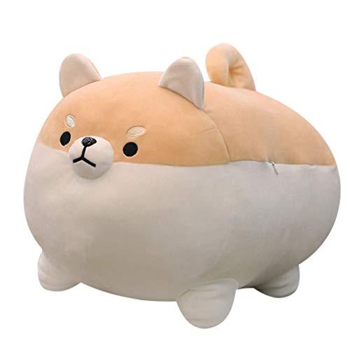 Shiba Inu Dog Plush Pillow, Corgi Stuffed Animal Plush Toy Hug Pillow Gifts for Girl Boy (Brown, 13.8in)