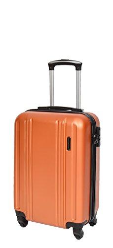 Cabin Size Strong 4 Wheel Hand Luggage ABS Hard Shell Lightweight Travel Bag AA03 Orange