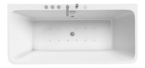 Whirlpool Vallerie in weiss mit Schürzen Wanne Badewanne mit Whirlfunktion Spa Design Bad inkl. Wasserhahn mit Dusche