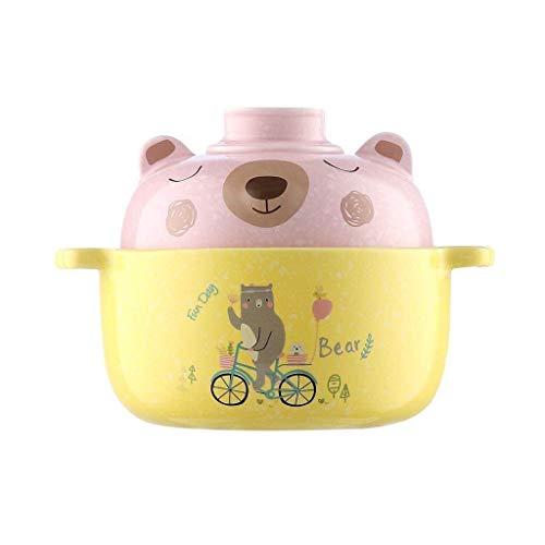HAILI Tableware, Tazón de cerámica de cerámica tazón de ensalada de fruta Muebles plato de sopa Crisol simple infantil Alimentos Utensilios oso de dibujos animados 18.5x7.5x14.5cm
