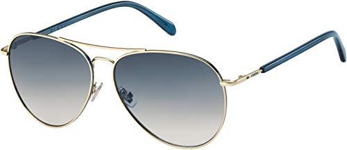 Fossil Michelle Aviator Sunglasses FOS3102 (Light Gold, Blue to Peach)