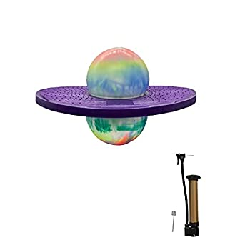 FURTHERNEXT Pogo Bounce Ball with Trick Board & Ball Pump Pogo Stand Jumper Toy by Air Kicks for Kids Ages 6 & Up and Adults Great Gift for Kids  Multi-Purple