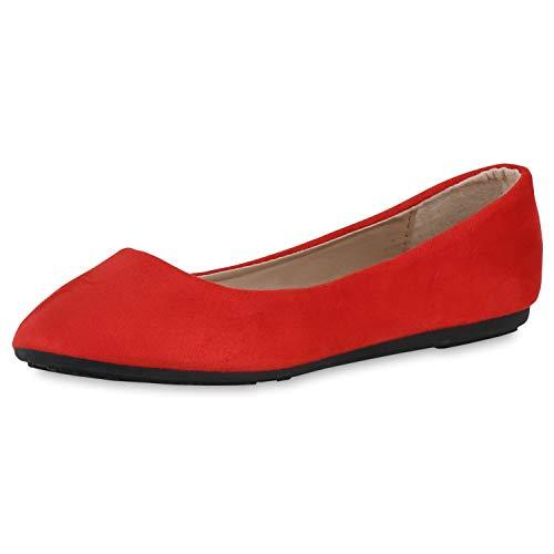 SCARPE VITA Damen Klassische Ballerinas Slip On Schuhe Wildleder-Optik Flats Flache Abendschuhe Slipper 191329 Rot 38