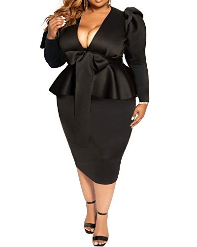 lexiart Plus Size Dresses for Women – Sexy Loose Stretchy Plus Size Peplum Dresses with Bowknot