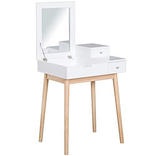 HOMCOM Coiffeuse Design scandinave Table de Maquillage Multi-rangements Miroir Pliable 60L x 50l x 86H cm pin et MDF Blanc