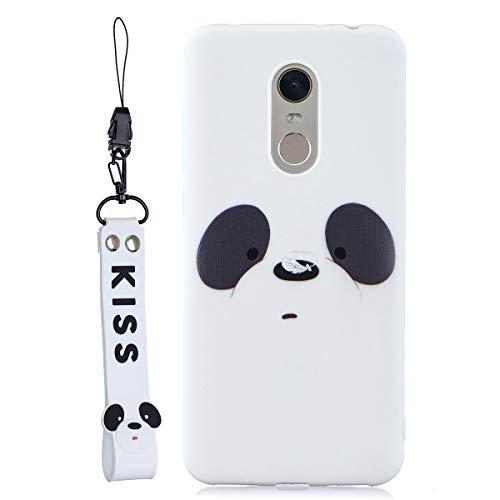 Funda Silicona para el [Xiaomi Redmi 5 Plus ] Panda de Dibujos Animados en 3D con Cordón Carcasa para Redmi 5 Plus para Mujeres y Niños - Blanco