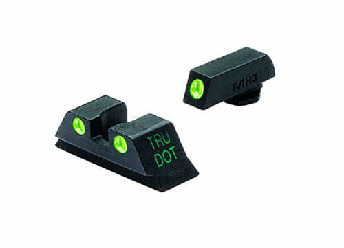 Meprolight Glock Tru-Dot Night Sight for 9mm, .357 Sig, .40 S&W . 45 GAP. Fixed Set. Green Rear Sight with Green Front Sight