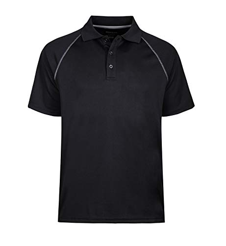 MOHEEN Men's Big and Tall Advantage Performance Solid Polo (L,Black)